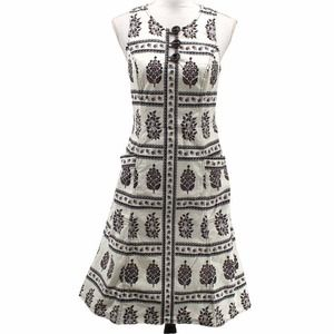 Anthropologie Woodblock Floral Print Midi Dress Buttons Pockets Fit Flare Size 6